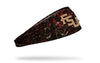 black headband with Florida State University logo and red paint splatter