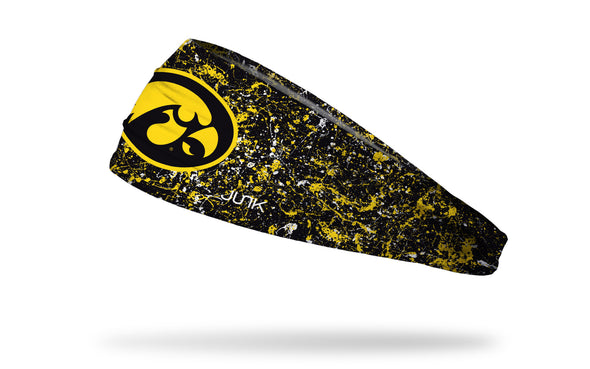 black headband with paint splatters and Iowa State University logo in yellow gold