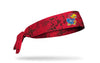 red and black headband with University of Kansas Jayhawk logo