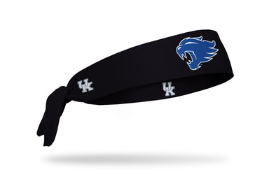 black headband with University of Kentucky wildcat mascot logo in royal blue