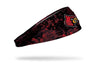 black grunge layover headband with Univeristy of Louisville bird logo full color
