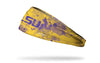 yellow gold headband with grunge overlay and Louisiana State University logo