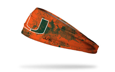 University of Miami orange headband with green grunge overlay