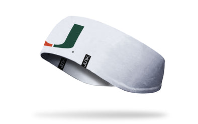 white ear warmer with University of Miami U logo in orange and green