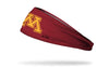 maroon headband with University of Minnesota m logo in gold