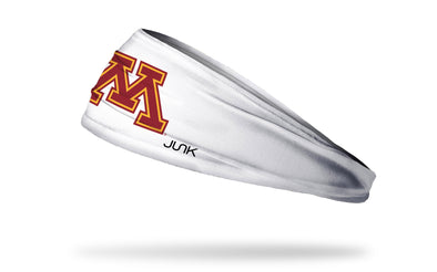 white headband with University of Minnesota M logo in maroon