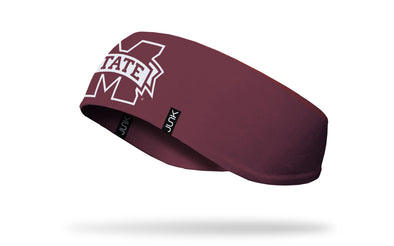 maroon ear warmer with Mississippi State University M State logo in white and maroon