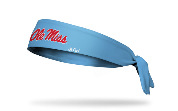 light blue headband with University of Mississippi Ole Miss script baseball logo in red