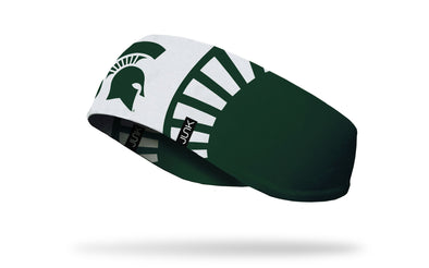 white ear warmer with Michigan State University spartan logo in green in center and spartan helmet design around
