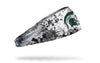 white headband with Michigan State University spartan logo in green with black grunge overlay