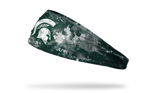 green headband with Michigan State University spartan logo in white with white grunge overlay