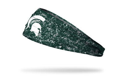 green paint splatter headband with Michigan State University spartan logo in white