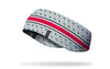 grey and white ear warmer with red band line and Ohio State University Buckeyes logo repeating in green