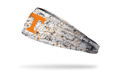 University of Tennessee white headband with splatter overlay
