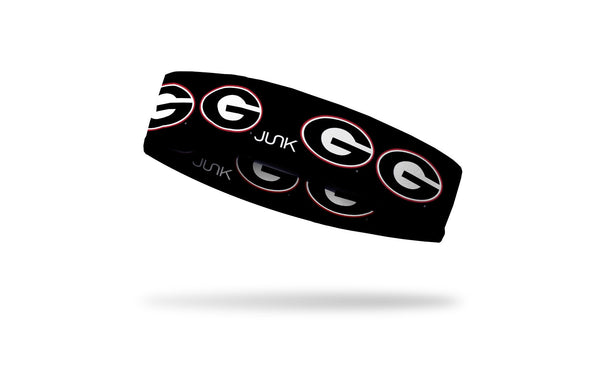 black headband with University of Georgia G logo in white red and black repeating pattern