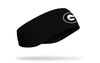 black ear warmer with University of Georgia G logo in black white and red
