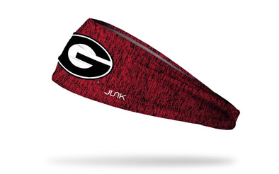 red and black heathered headband with University of Georgia G logo in black and white