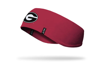 red ear warmer with University of Georgia G logo in black and white