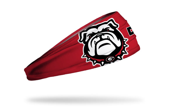 red headband with University of Georgia bulldog mascot in full color and DAWGS wordmark in black