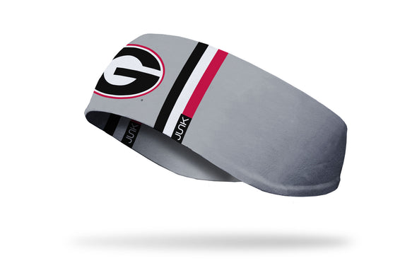 light grey ear warmer with black white and red varsity stripes and University of Georgia G logo in full color