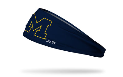 navy headband with University of Michigan M logo in navy with gold outline