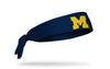 navy headband with University of Michigan M logo in gold