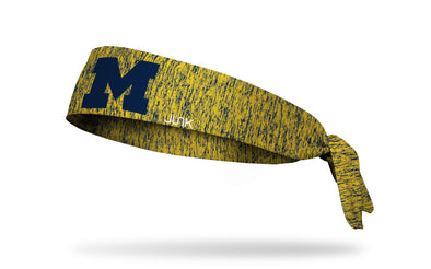 yellow and navy heathered headband with University of Michigan M in navy