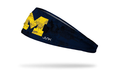 blue headband with grunge overlay and University of Michigan logo