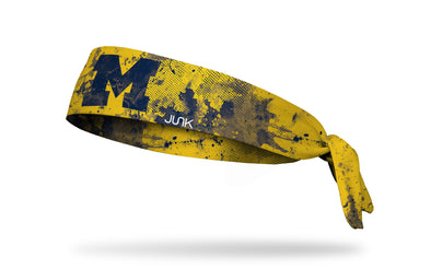 yellow gold headband with grunge overlay and University of Michigan logo