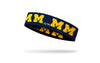 navy headband with University of Michigan M logo in gold repeating