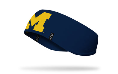 navy ear warmer with University of Michigan M logo in gold