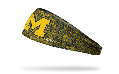 navy and yellow heathered headband with University of Michigan yellow M logo in front center