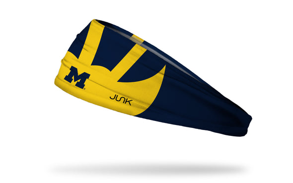 navy headband with University of Michigan winged helmet design in gold