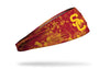 cardinal headband with grunge overlay and University of Southern California logo