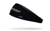 black headband with Vanderbilt University baseball wordmark logo in white and gold