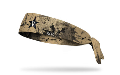 gold headband with black grunge overlay and Vanderbilt University V Star logo in black and white