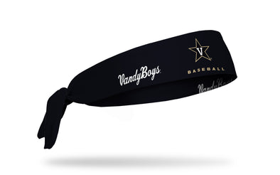 black headband with Vanderbilt University baseball wordmark and vandy boys logo in white and gold