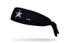 black headband with Vanderbilt University V Star logo in white with american flag print fill