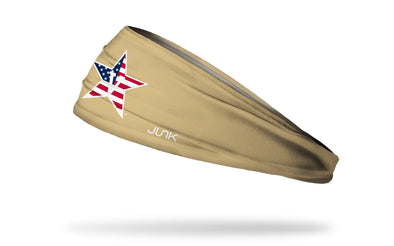 gold headband with Vanderbilt University V Star logo in white with american flag print fill
