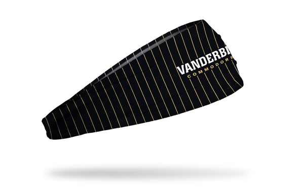 black headband with gold pinstripes and Vanderbilt Commodores wordmark in white and gold