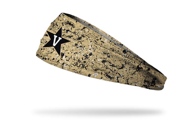 gold paint splatter headband with Vanderbilt University V Star logo in black and white