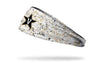 white paint splatter headband with Vanderbilt University V Star logo in black and white
