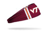 maroon headband with Virginia Tech white V T logo and striped to left and right