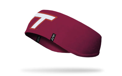 maroon ear warmer with Virginia Tech V T logo in white and orange in front center