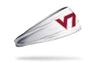 white headband with Virginia Tech V T logo in maroon and orange