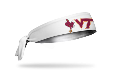 white headband with Virginia Tech red and orange V T with Hokie Bird to left in full color