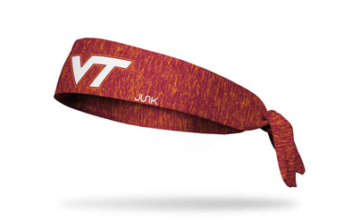 red and orange heathered headband with Virginia Tech V T logo in white