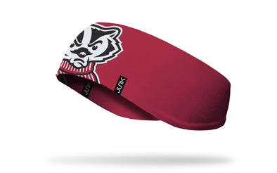red ear warmer with University of Wisconsin oversized Bucky mascot logo