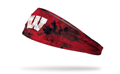 University of Wisconsin red headband with grunge overlay