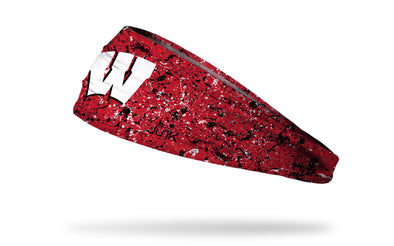 University of Wisconsin red headband with splatter overlay